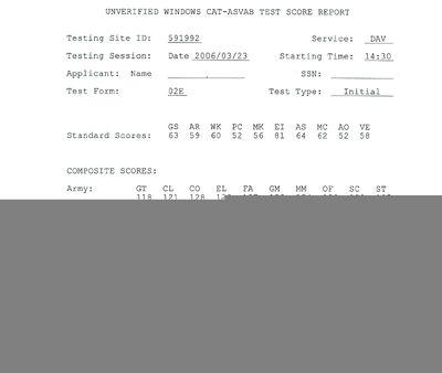 Asvab test score report