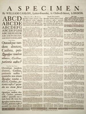 Caslon-schriftmusterblatt