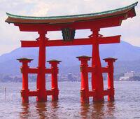 Itsukushima torii angle
