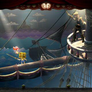 Gaff on the ship pole.