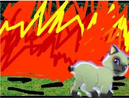 Milo in fire