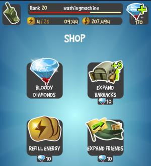 Shop menu screen