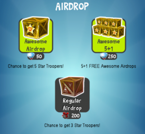 Airdrop menu screen