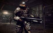 Shrouded armored shotgun