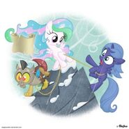 Discord-Celestia-and-Luna-my-little-pony-friendship-is-magic-26934074-400-400