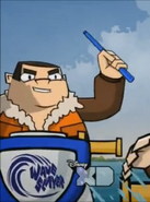 Jaminski with a baton