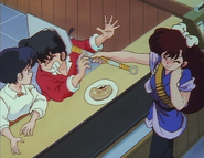 Ukyo hits Ranma - Ukyo's skirt