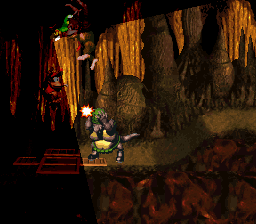 File:Torchlight Trouble - Diddy pouncing on Klump - Donkey Kong Country.png