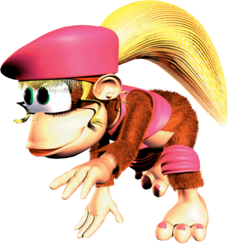 File:Dixie Running Artwork - Donkey Kong Country 2.png
