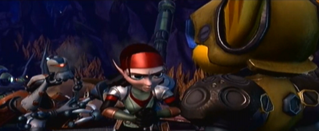 File:Talwyn tells Ratchet to save city while she repairs Cronk.png