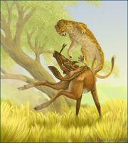 Ratha and the threehorn by deathmango-d3b61gg