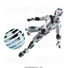 3d-clipart-of-a-metal-3d-athletic-robot-character-kicking-a-blue-soccer-ball-by-julos-435