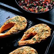 File:Seared Salmon Steaks with warm Rocket Salad.jpg