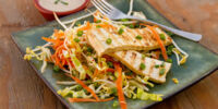 Cabbage Salad with Baked Tofu and Lemon-Soy Vinaigrette