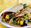 Blackened Catfish Taco with Mango Chutney and Cilantro Black Beans