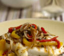 Grilled Halibut and Slivered Vegetable Salad