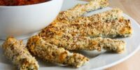 Parmesan-crusted Baked Zucchini Sticks with Marinara Sauce