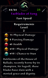 Faeblades of Song Inventory