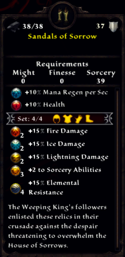 Sandals of Sorrow Inventory
