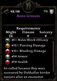 Bone greaves