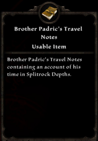 Brother Padric's Travel Notes Inventory Card