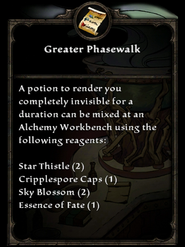 Greater Phasewalk Recipe card