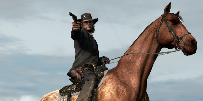 Marston firing from horseback