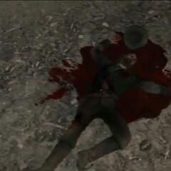 John Marston muerto en un charco de su sangre.
