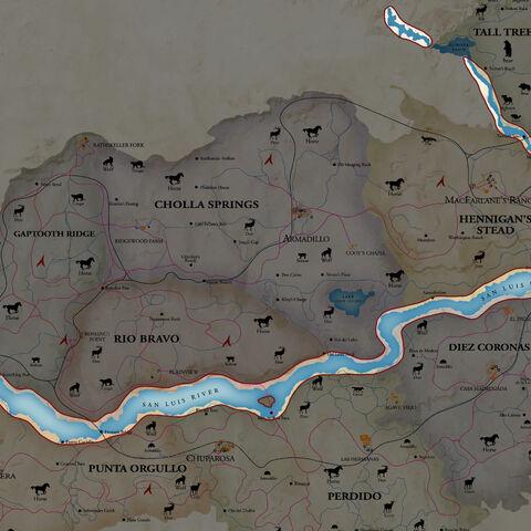 El río en marcado en el mapa.