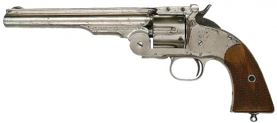 File:Smith & Wesson Schofield Model 3 with a nickel finish - .45 Schofield.jpg