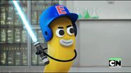 Banana Joe is holding a Lightsaber