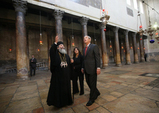 File:Patriarch Theophilos III of Jerusalem and President Bush.jpg