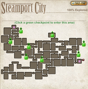 A map of the checkpoints of Steamport City