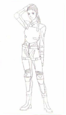 File:BIOHAZARD 1.5 concept artwork - Elza Walker early RPD outfit line art.png