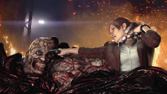 File:Promotional Resident Evil Revelations 2 - Claire Redfield vs Uroboros Tyrant Mutant Neil.jpg