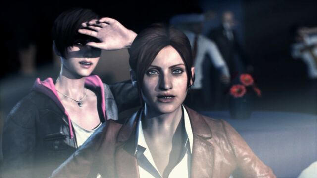 File:Resident Evil Revelations 2 screenshot - Terrasave under attack, Claire Redfield and Moira Burton.jpg