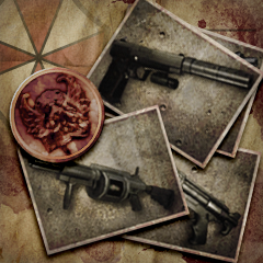 File:Umbrella Chronicles Trophy icon - Love Those Weapons.png