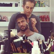 William Levy undergoing makeup