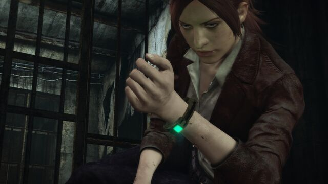 File:Revelations 2 wallpaper - Claire looking at bracelet.jpg