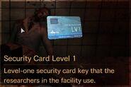 Security Card Level 1 description