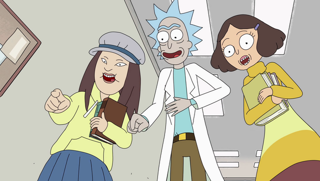 File:S2e4 girls and rick laugh.png