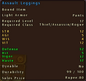 Assault Leggings Stats