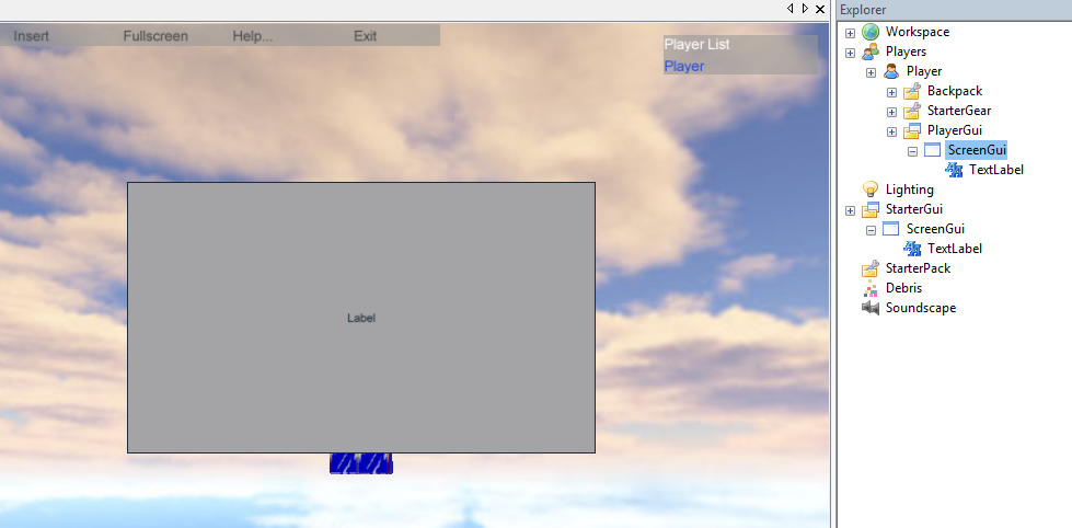 ScreenGui placement