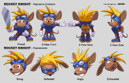 Sparkster in New International Track & Field Official Artwork Model Sheet by Udon