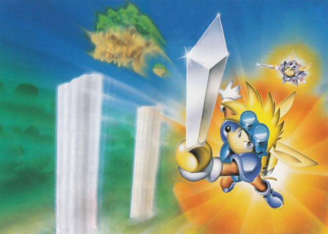 File:Sparkster- Rocket Knight Adventures 2 and Sparkster (SNES) Official Artwork Cover.png