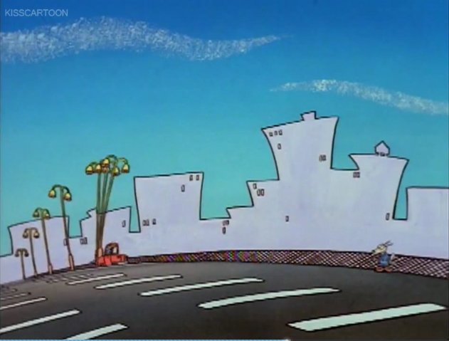 File:Mrs Wolfe leaving Rocko and hitting Light poles (Driving Mrs. Wolfe).png