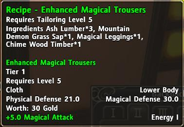 Recipe enhanced magical trousers d