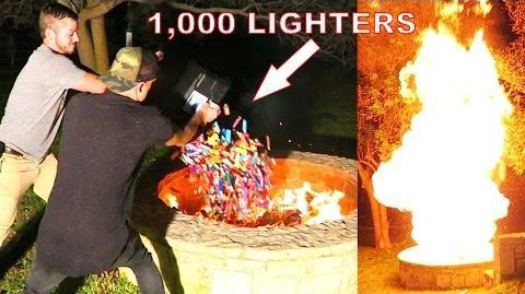 1,000 LIGHTERS vs CRAZY BONFIRE EXPERIMENT!!