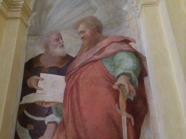 File:S. Andrea del Vignola - St Paul - upper portion.jpg