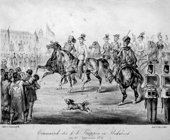 Fișier:Austrian troops, 25 August-6 September 1854, Lanzedelli.jpg